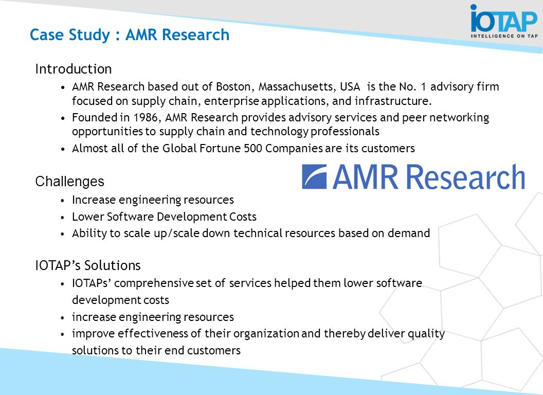 Case Study : AMR Research