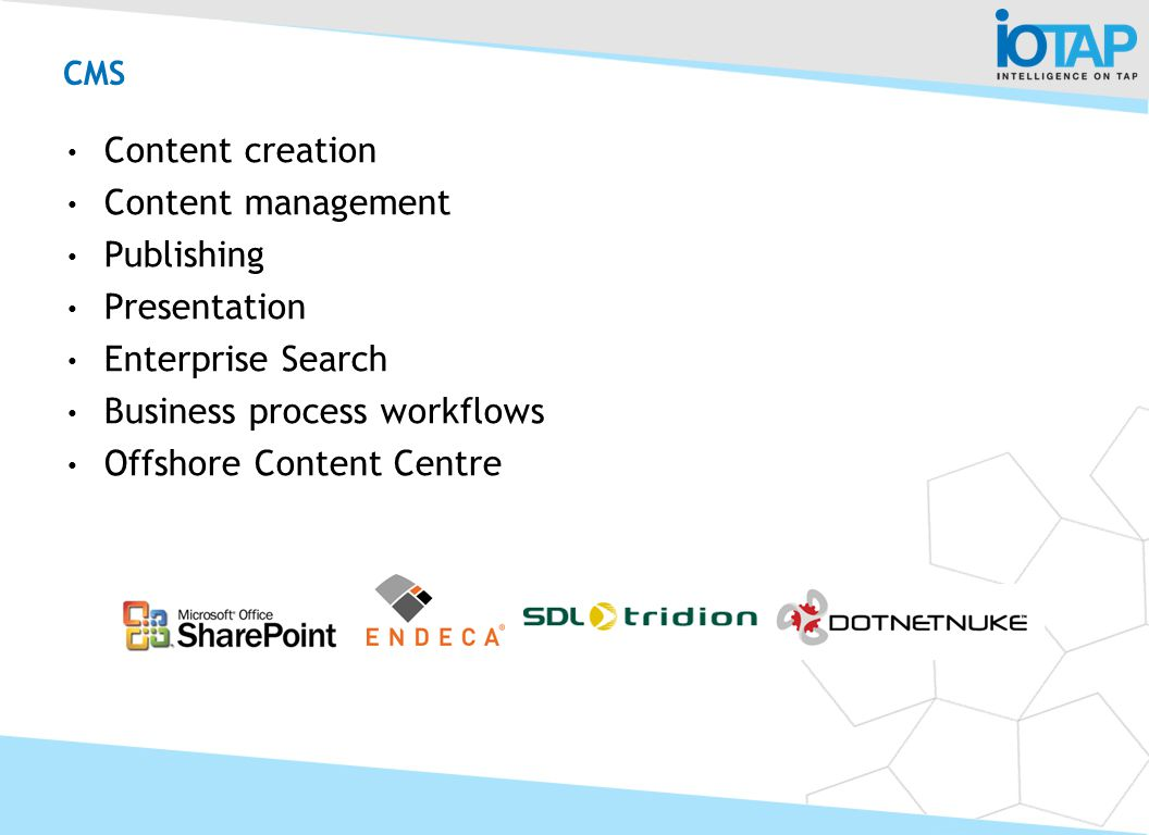 CMS Content creation Content management Publishing Presentation