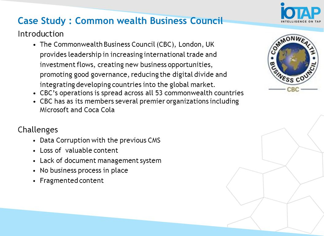 Case Study : Common wealth Business Council