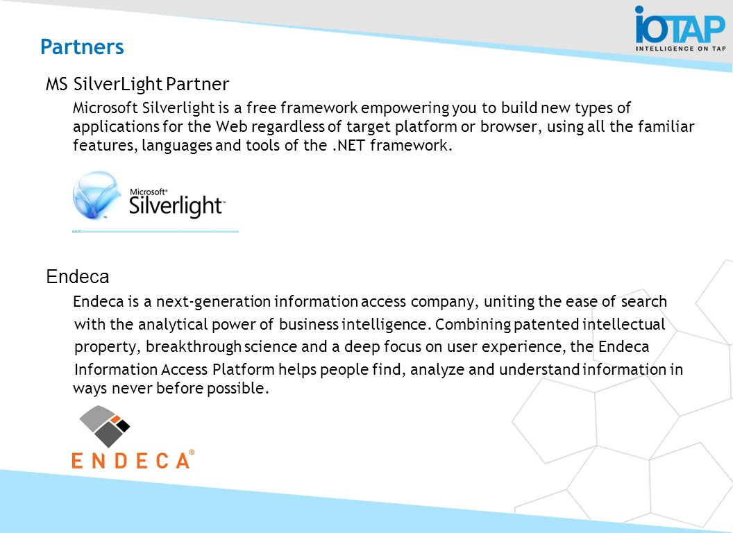 Partners MS SilverLight Partner Endeca