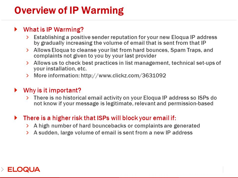 Overview of IP Warming What is IP Warming Why is it important