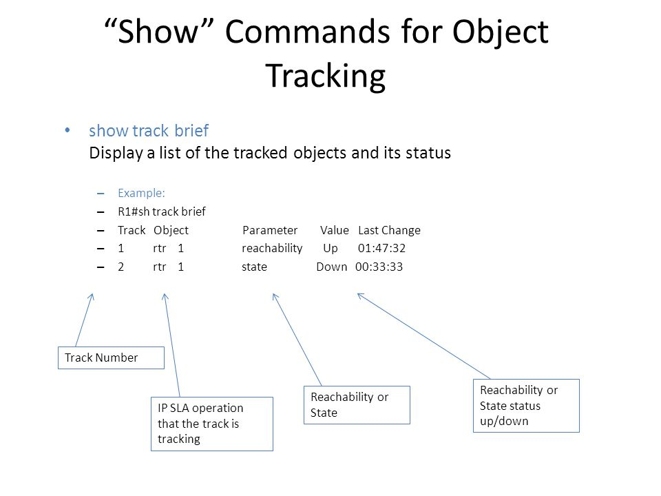 Show Commands for Object Tracking
