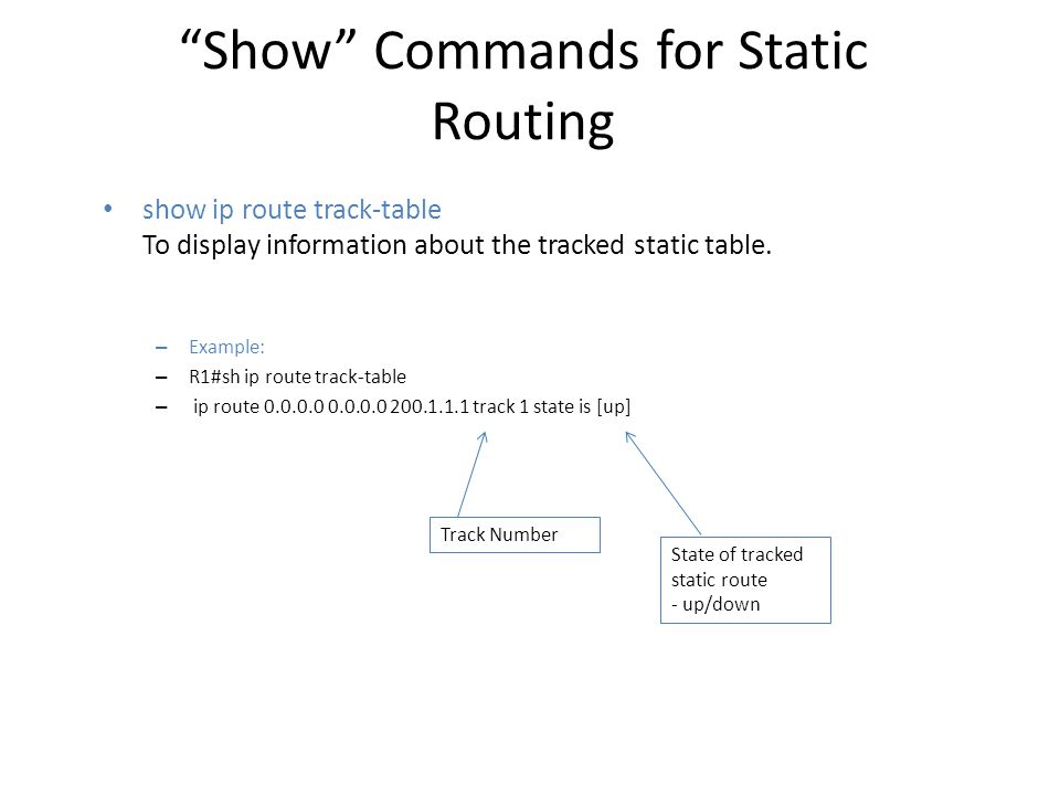 Show Commands for Static Routing