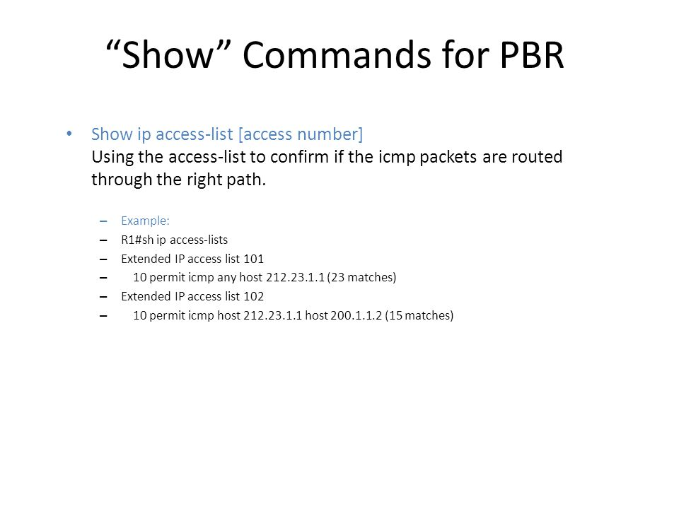 Show Commands for PBR
