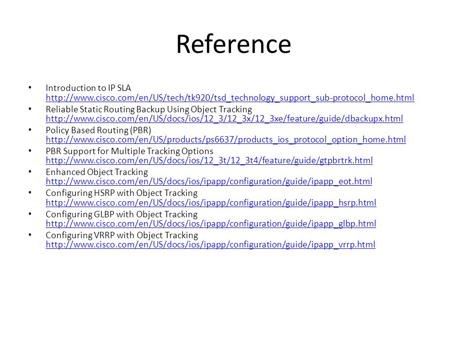 Reference Introduction to IP SLA