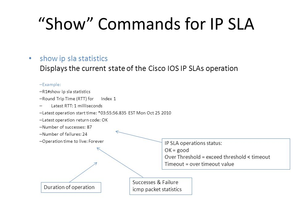 Show Commands for IP SLA