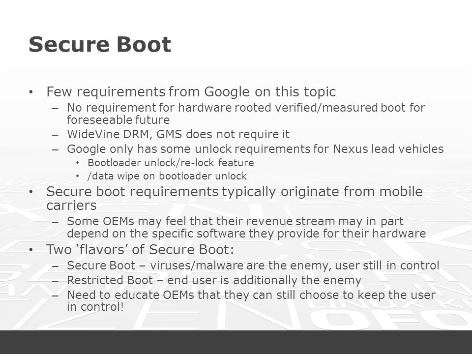 Secure Boot Few requirements from Google on this topic
