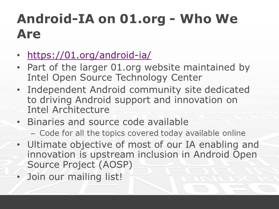 Android-IA on 01.org - Who We Are