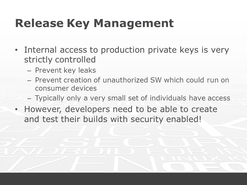 Release Key Management