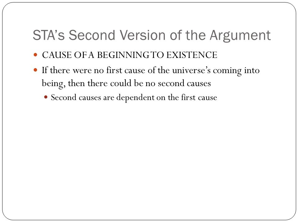 STA's Second Version of the Argument
