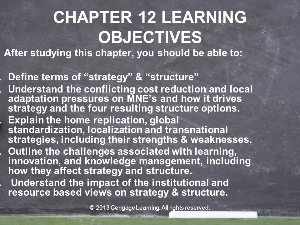 CHAPTER 12 LEARNING OBJECTIVES