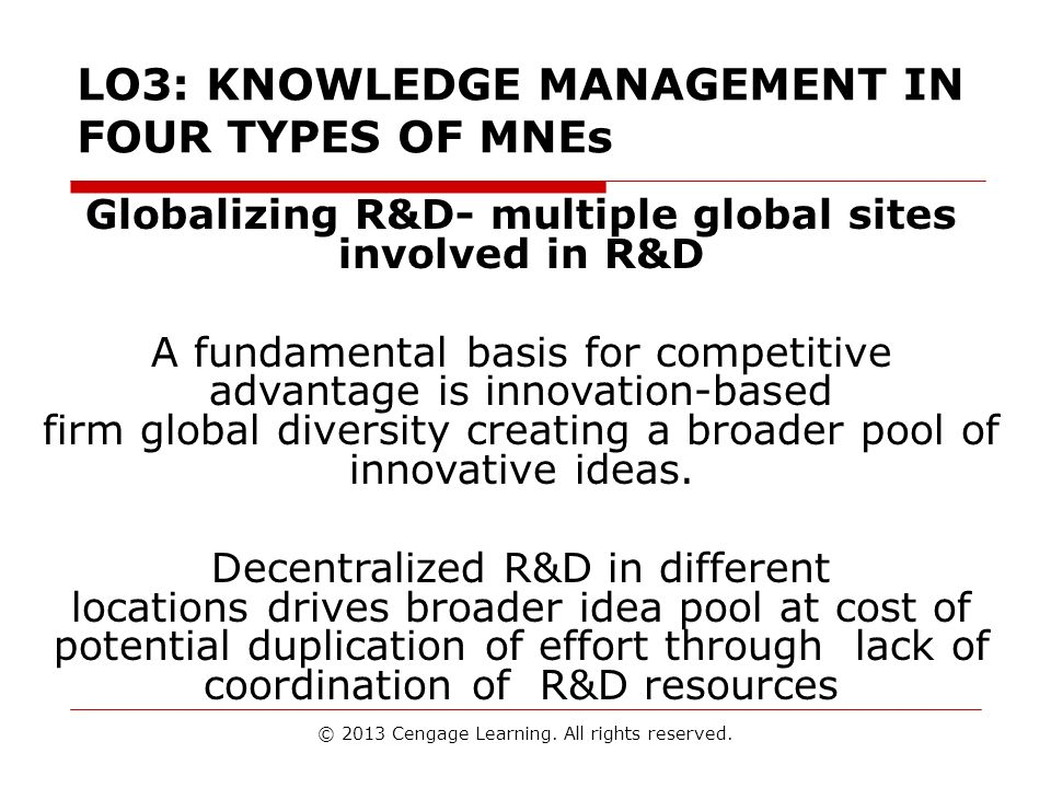 LO3: KNOWLEDGE MANAGEMENT IN FOUR TYPES OF MNEs