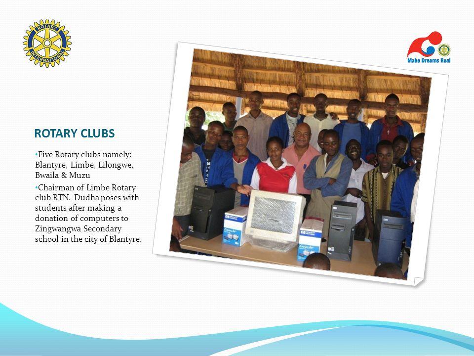 ROTARY CLUBS Five Rotary clubs namely: Blantyre, Limbe, Lilongwe, Bwaila & Muzu.