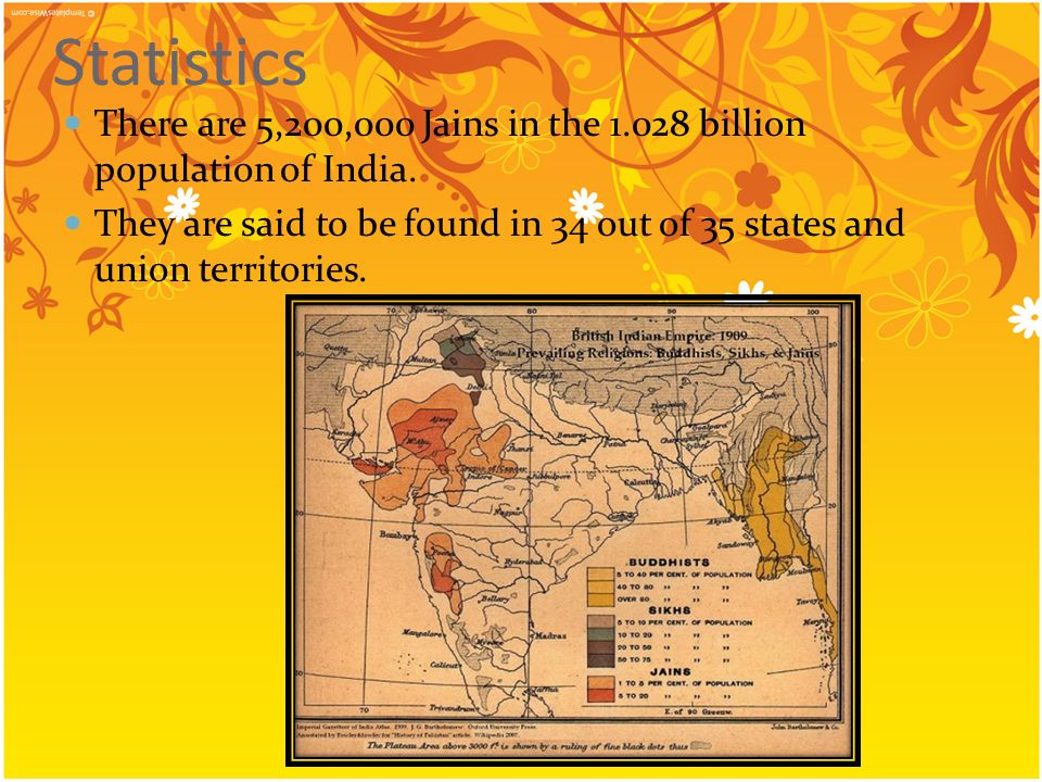 Statistics There are 5,200,000 Jains in the 1.028 billion population of India.