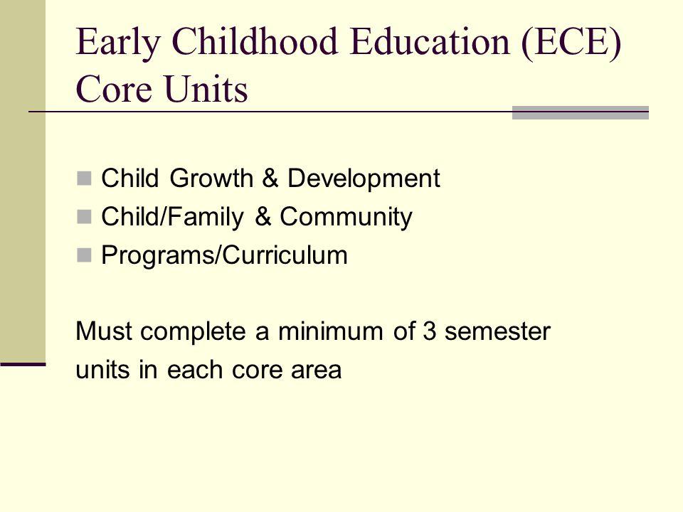 Early Childhood Education (ECE) Core Units