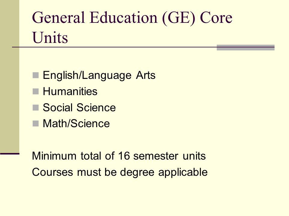 General Education (GE) Core Units