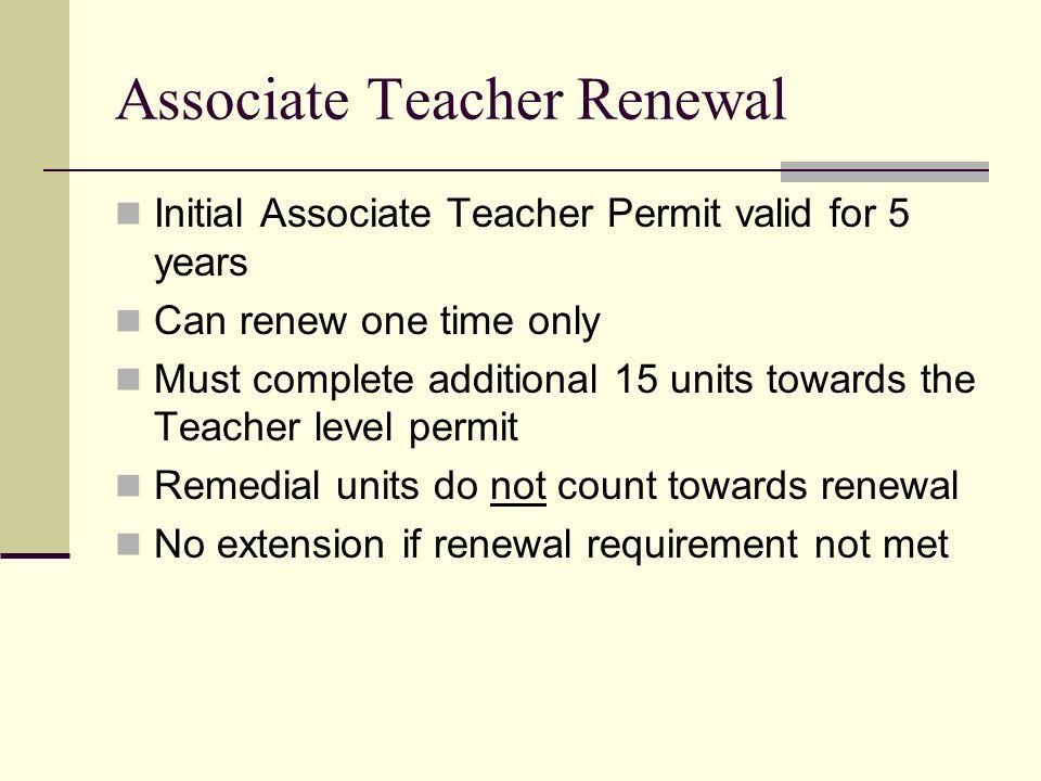 Associate Teacher Renewal