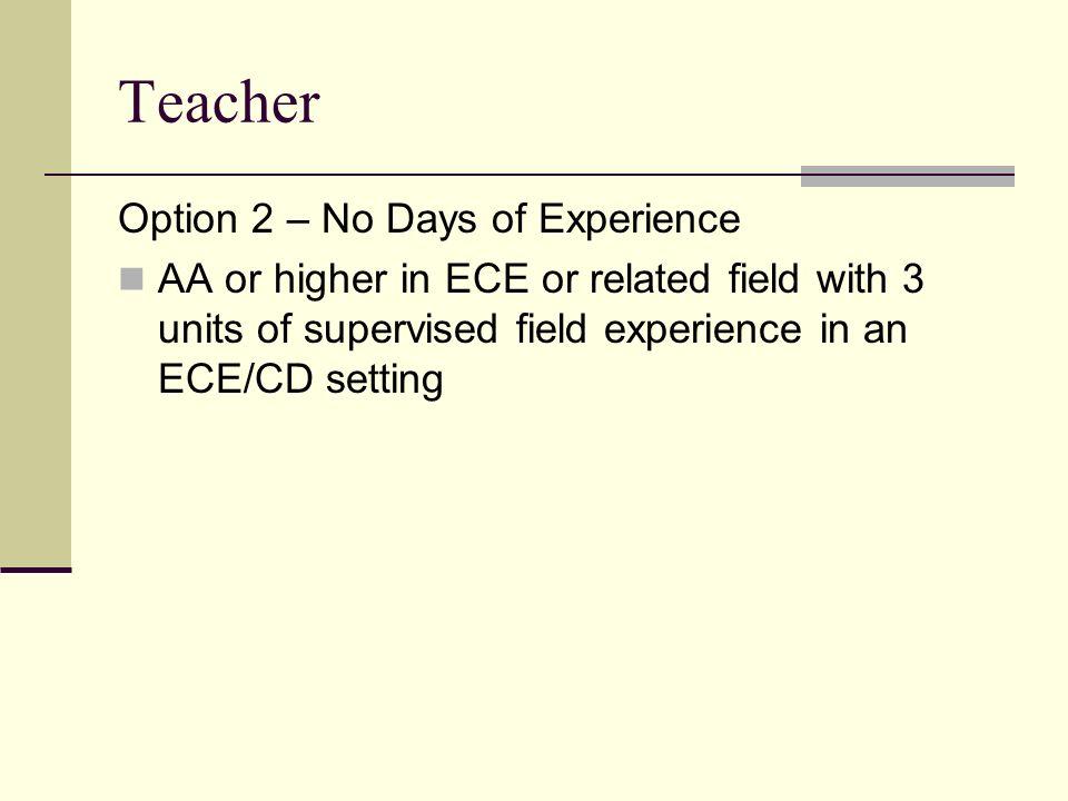 Teacher Option 2 – No Days of Experience
