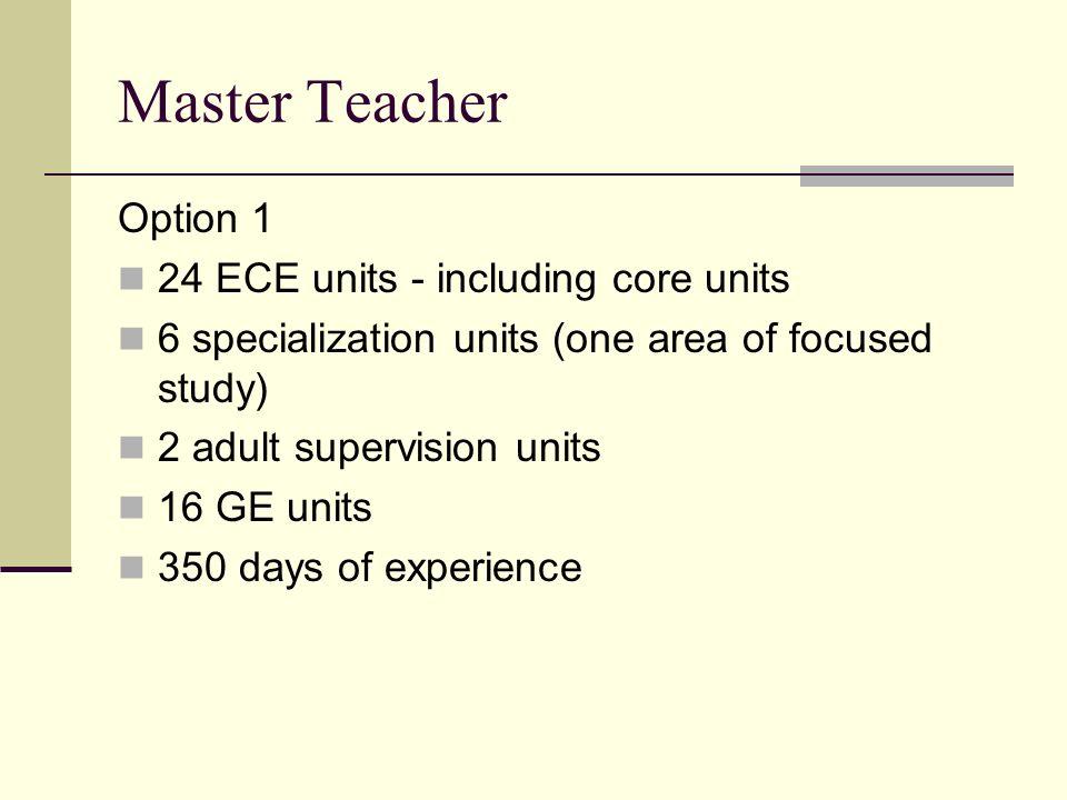 Master Teacher Option 1 24 ECE units - including core units