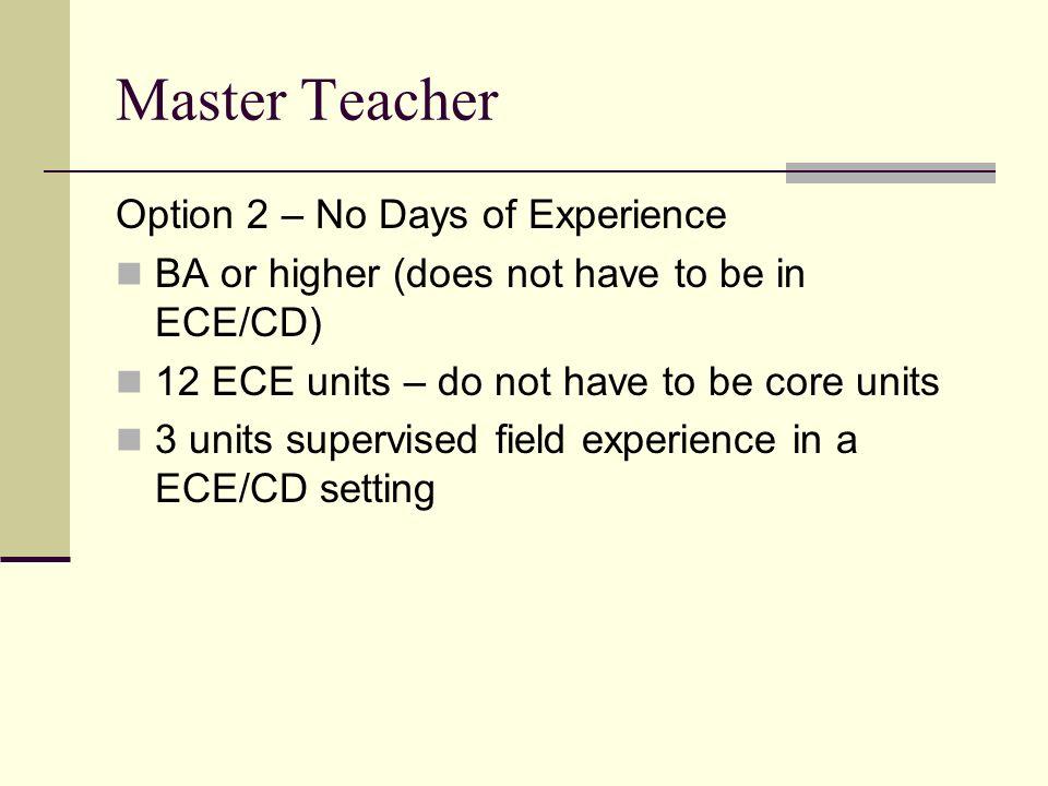 Master Teacher Option 2 – No Days of Experience