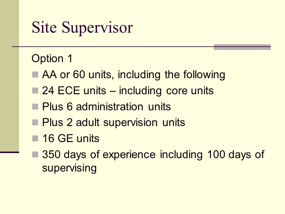 Site Supervisor Option 1 AA or 60 units, including the following