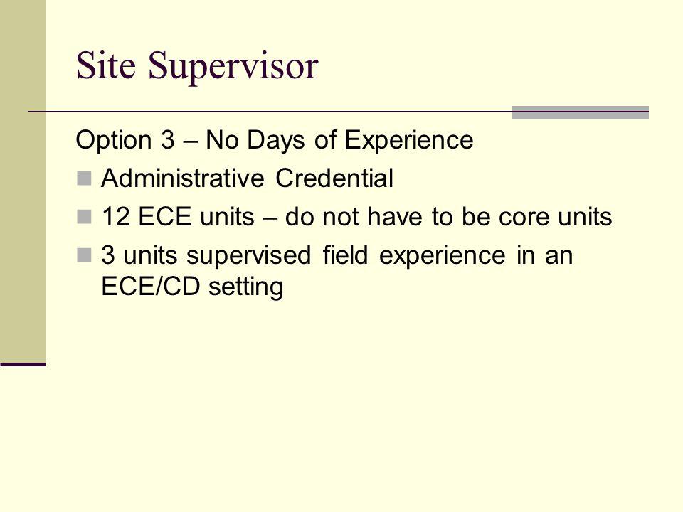 Site Supervisor Option 3 – No Days of Experience