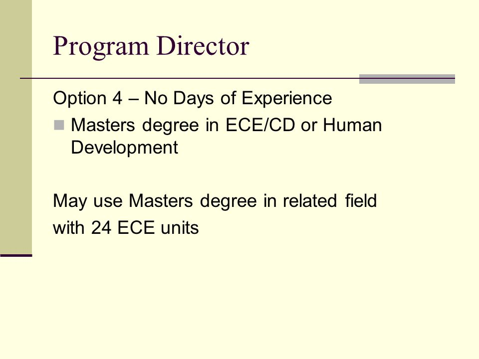 Program Director Option 4 – No Days of Experience