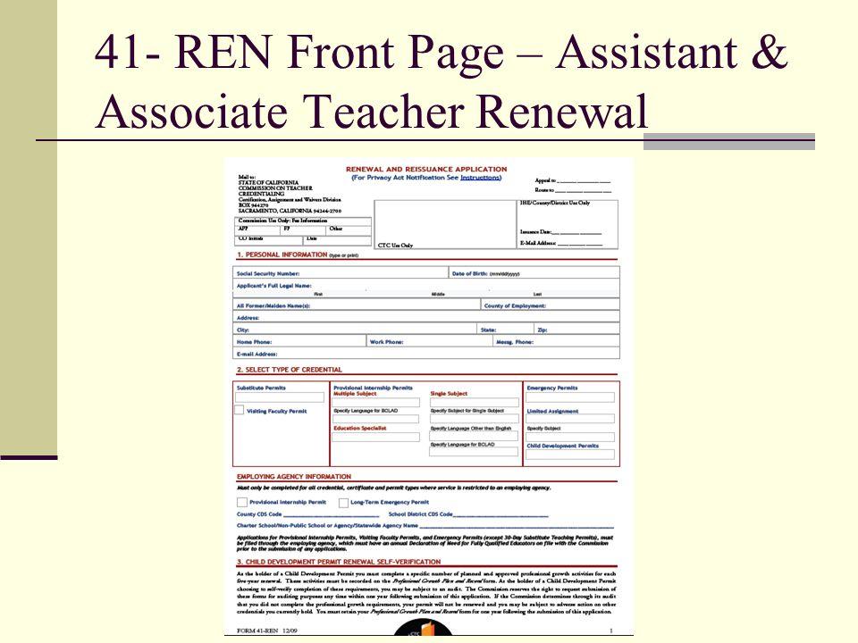 41- REN Front Page – Assistant & Associate Teacher Renewal