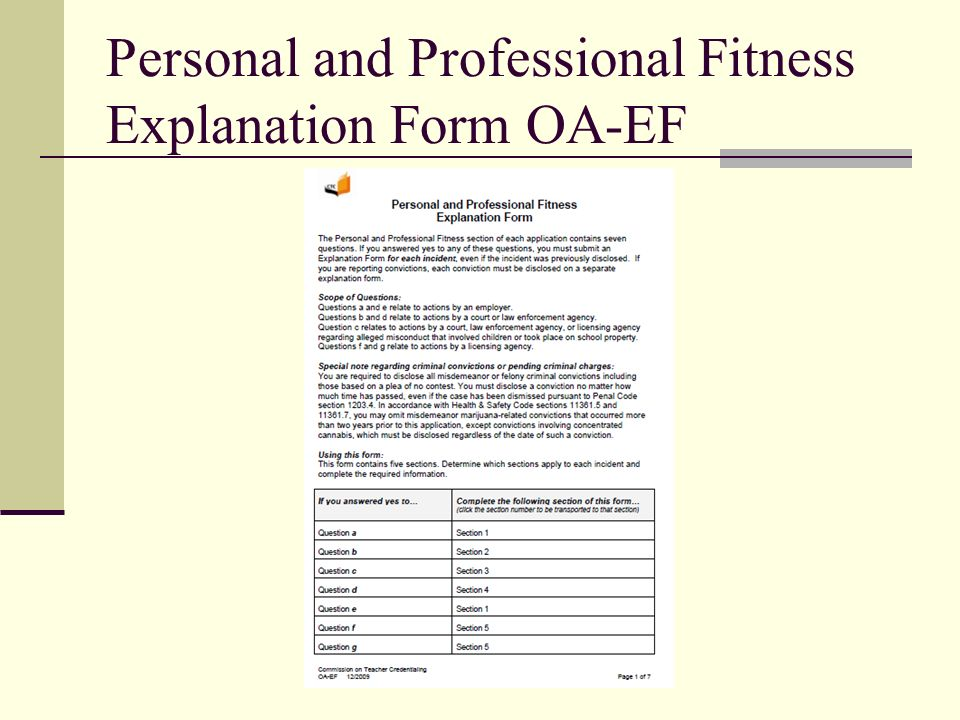 Personal and Professional Fitness Explanation Form OA-EF