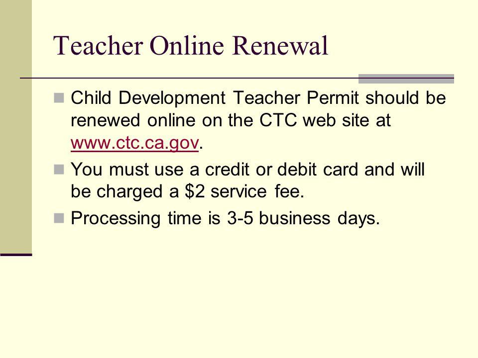 Teacher Online Renewal