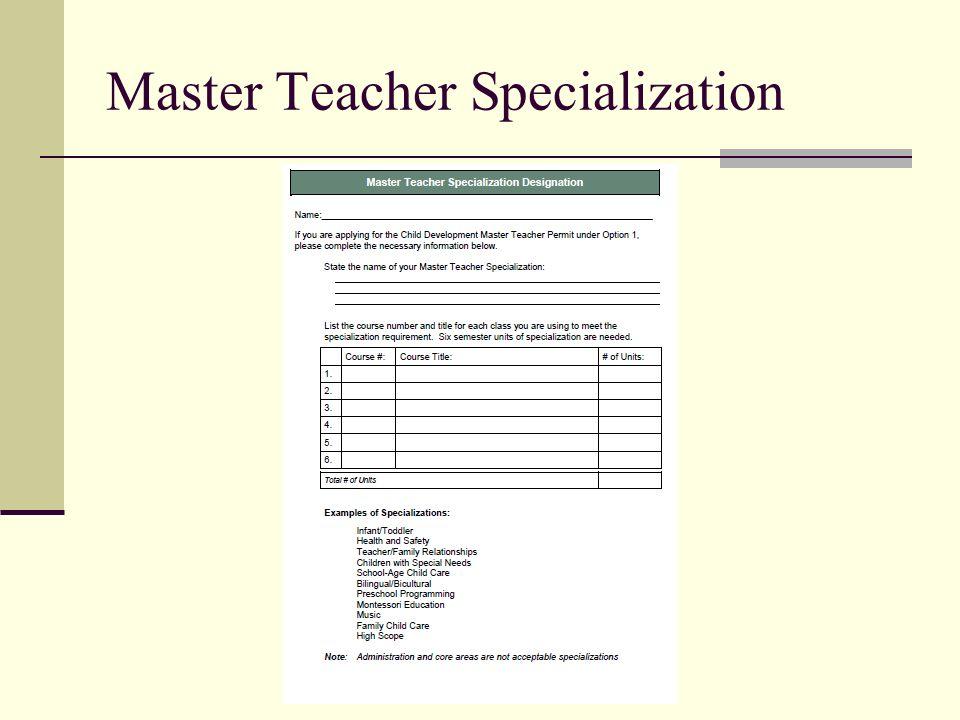 Master Teacher Specialization