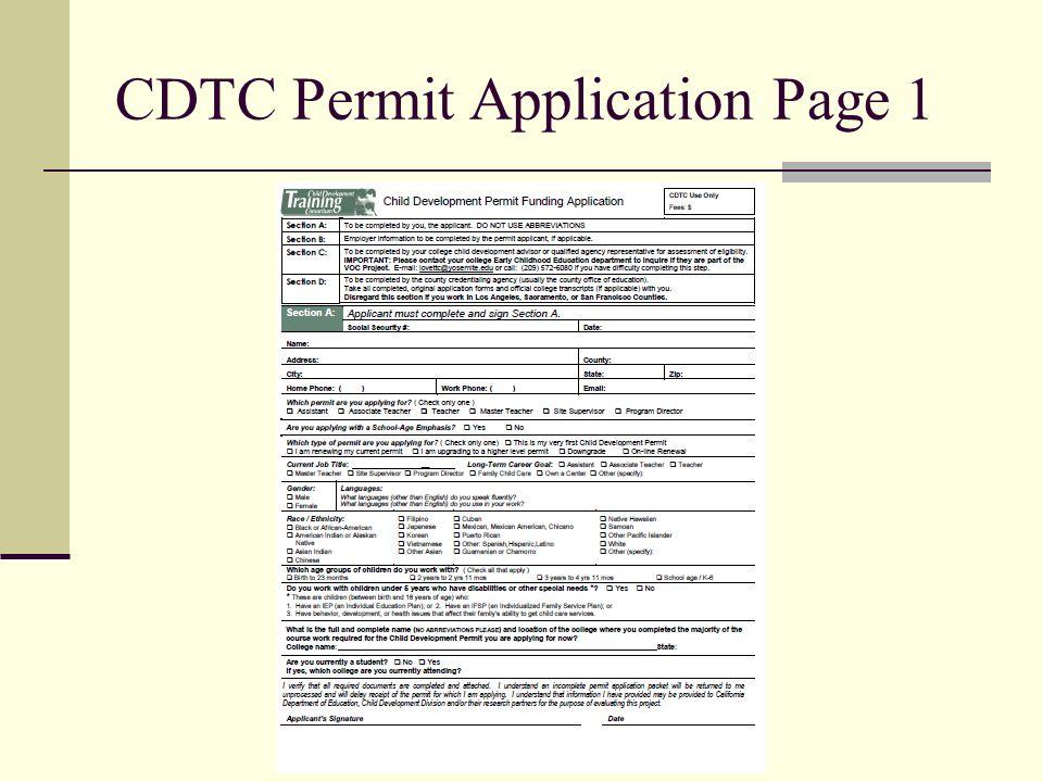 CDTC Permit Application Page 1