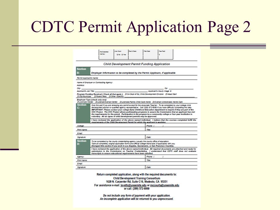 CDTC Permit Application Page 2