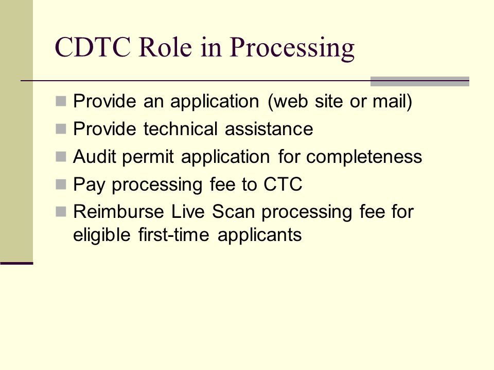 CDTC Role in Processing