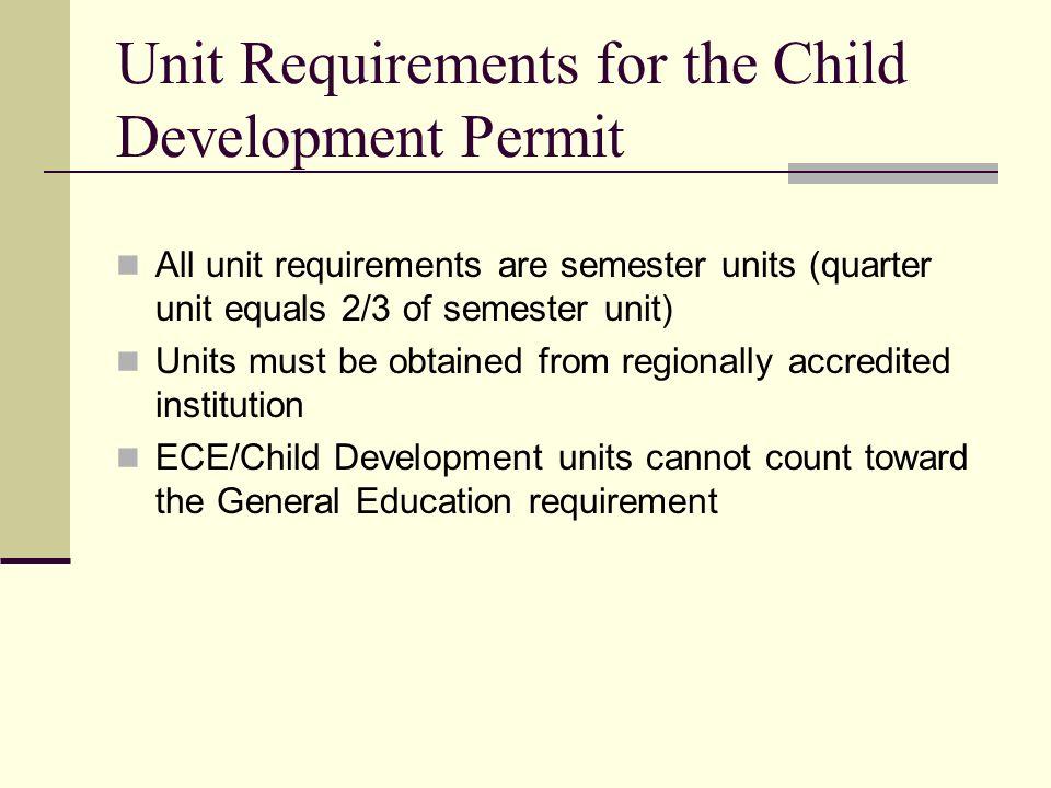 Unit Requirements for the Child Development Permit