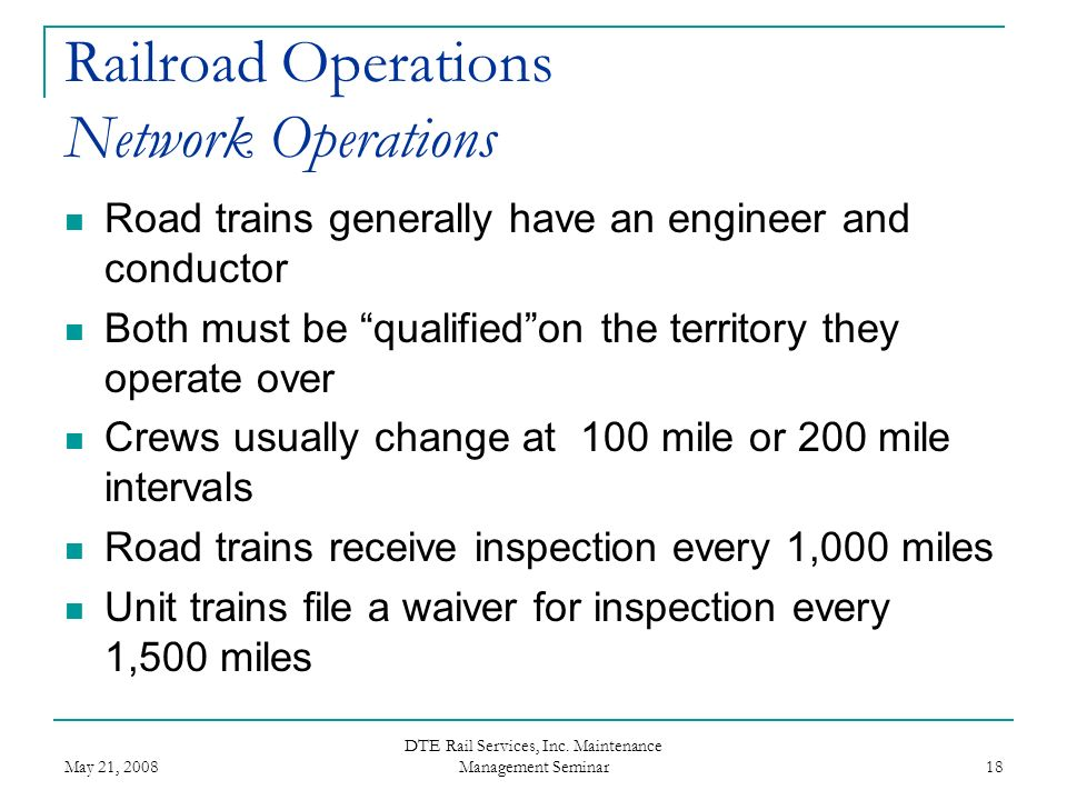 Railroad Operations Network Operations