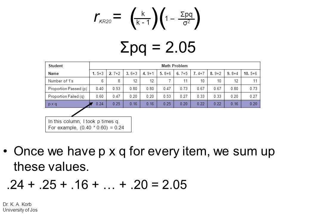 rKR20 = ( )( ) k. k - 1. 1 – Σpq. σ2. Σpq = 2.05. Student. Math Problem. Name. 1. 5+3.
