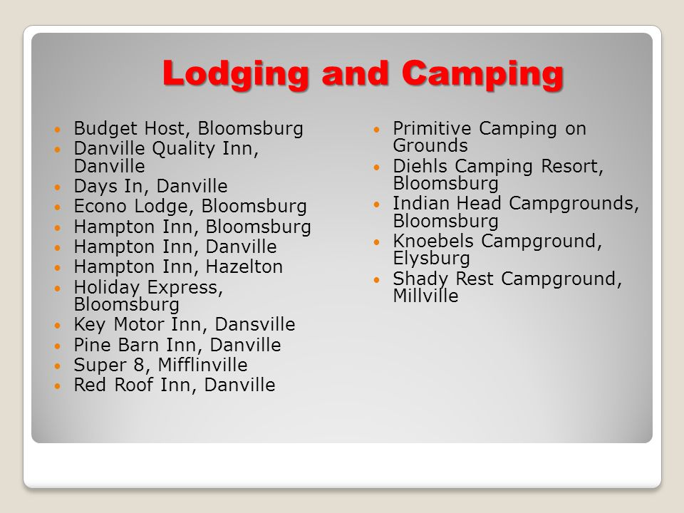 Lodging and Camping Budget Host, Bloomsburg