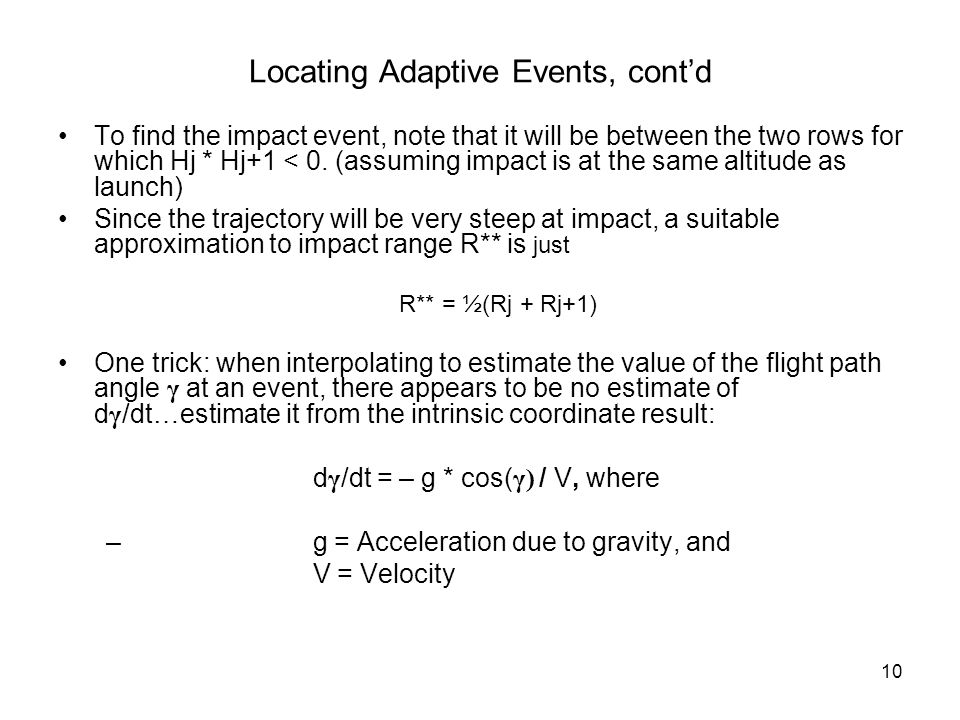 Locating Adaptive Events, cont'd