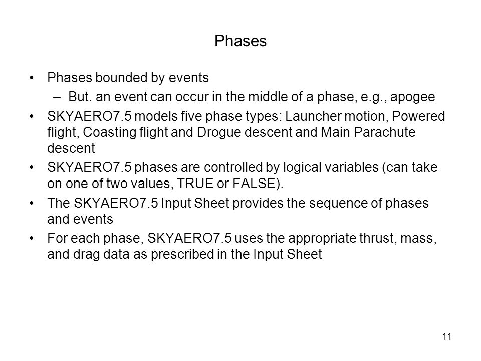 Phases Phases bounded by events