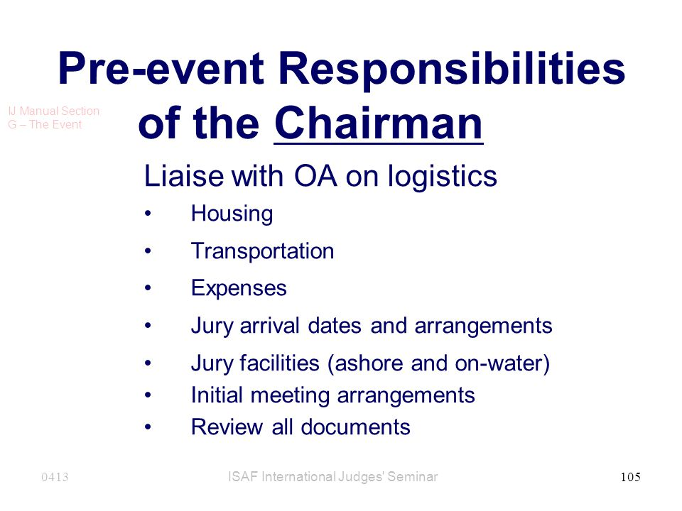 Pre-event Responsibilities of the Chairman