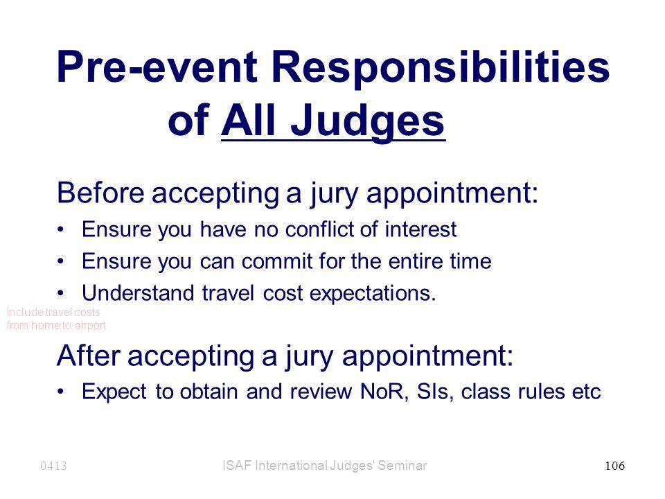 Pre-event Responsibilities of All Judges