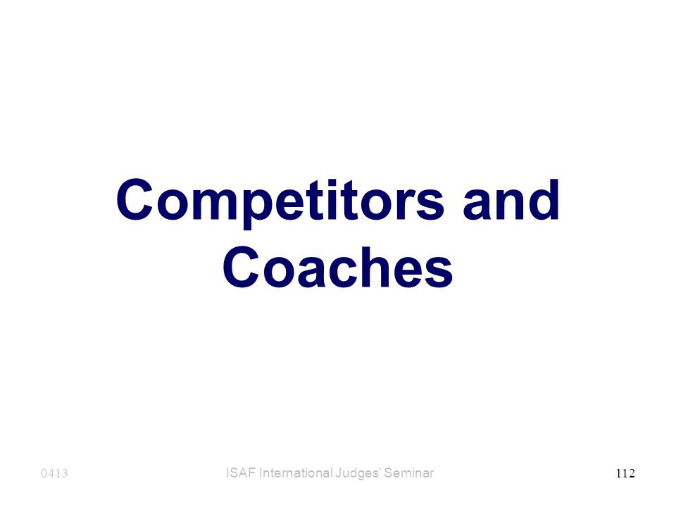 Competitors and Coaches