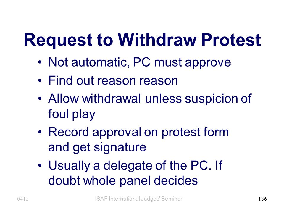 Request to Withdraw Protest