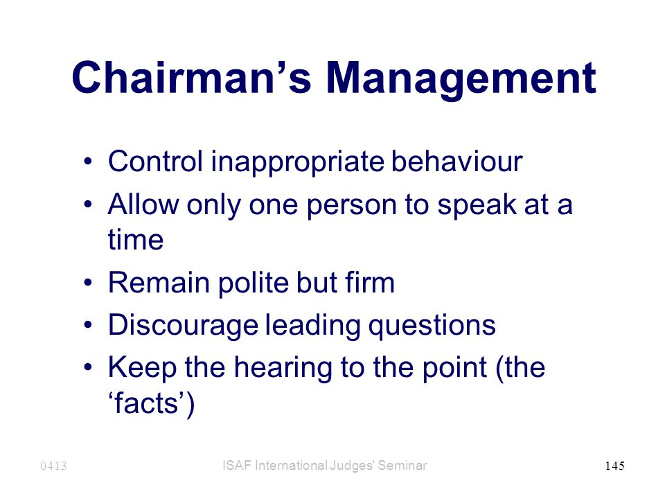 Chairman's Management