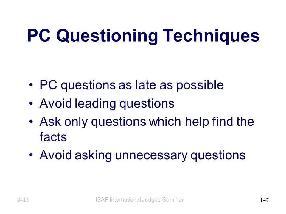 PC Questioning Techniques