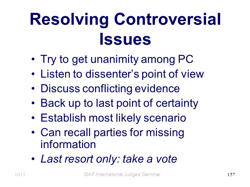 Resolving Controversial Issues