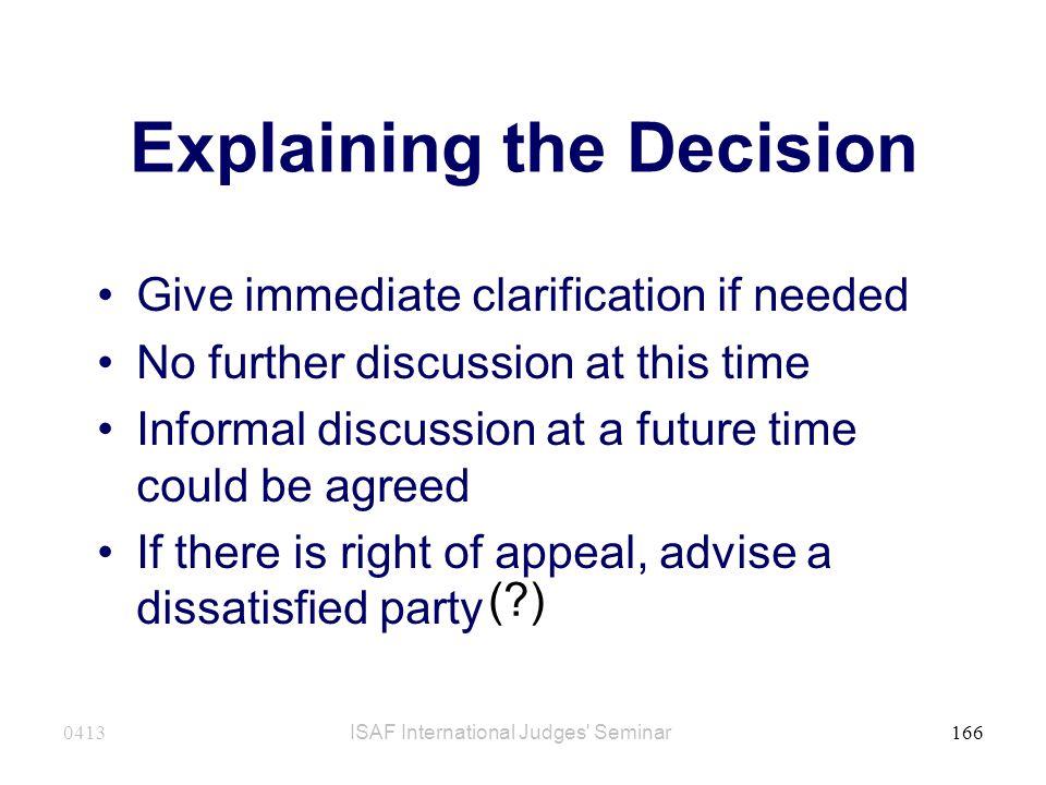 Explaining the Decision