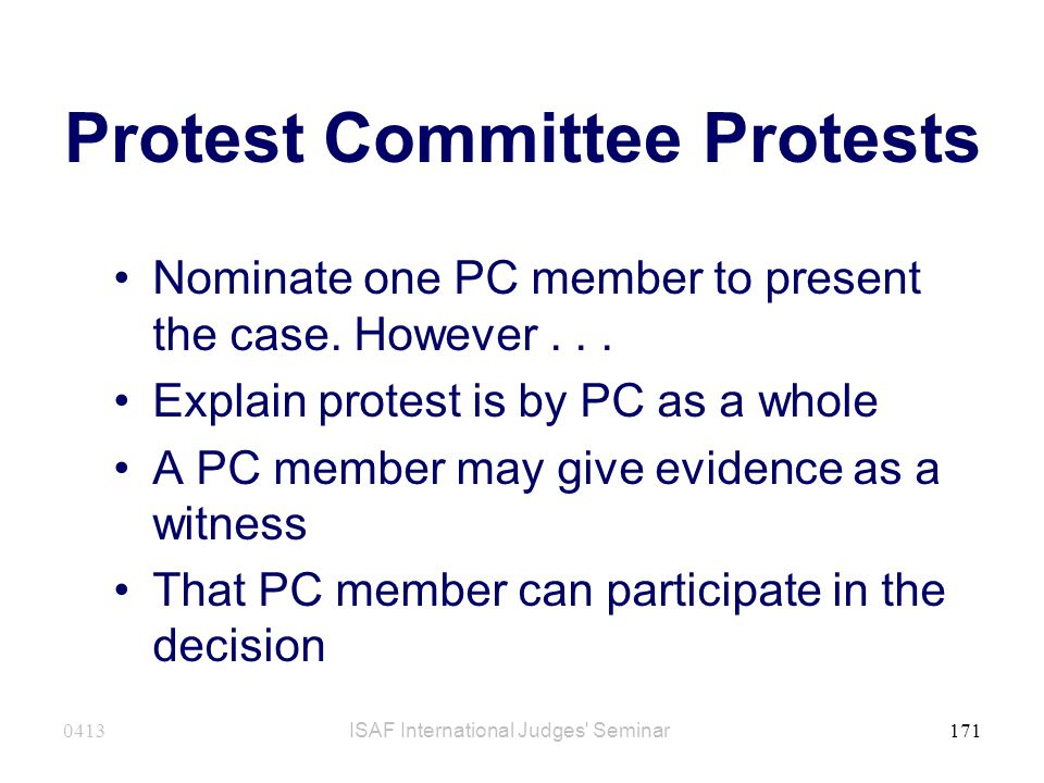 Protest Committee Protests