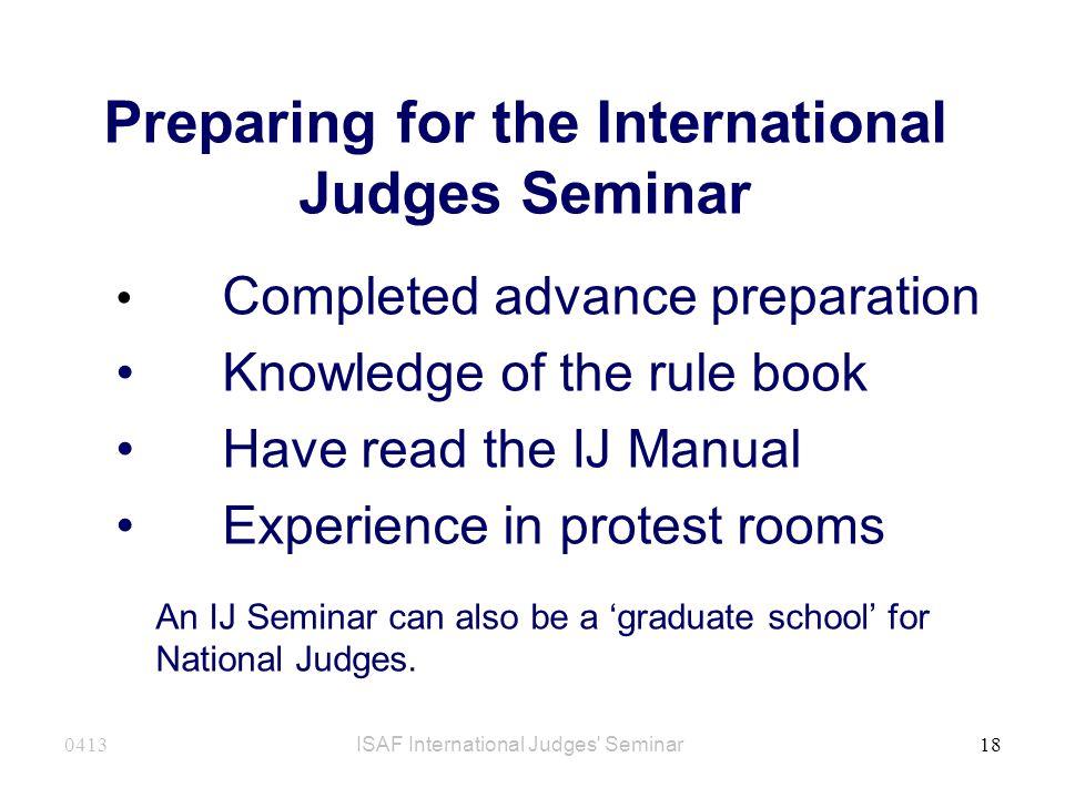 Preparing for the International Judges Seminar